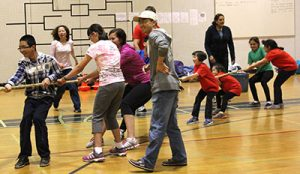 Junior Explorers tug-of-war with BC Blind Sports