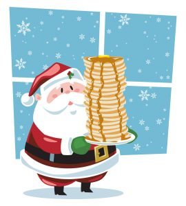 A cartoon Santa standing and holding a plate stacked with pancakes with syrup dripping from the top.