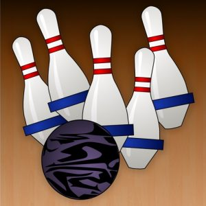 a cartoon graphic of 5 bowling pins with a black bowling ball in front of the pins