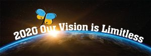 "2020 Blind Beginnings Gala Logo. The background of the image is outer space with earth in the foreground. There is a sun rising from behind earth. The caption ""2020 our vision is limitless"" is written across the logo."
