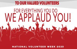 "A National Volunteer Week 2020 graphic with an audience applauding and the caption ""TO our valued volunteers, for everything you do, we applaud you. National Volunteer Week 2020"""
