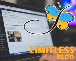 Image of a laptop computer and hands on the keyboard, entering in a blog article onto a website with the words Limitless Blog floating over.