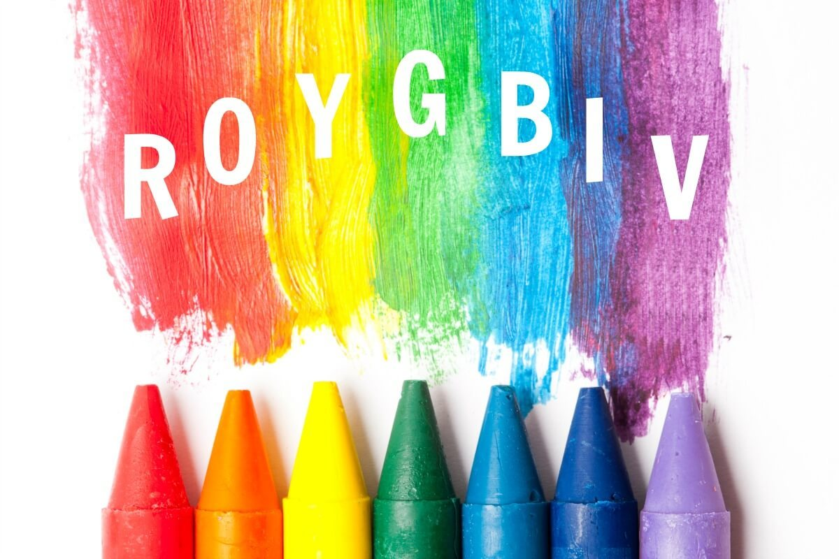 A group of colored crayons, each color spelling out the acronym of the colors of the rainbow, which is R.O.Y.G.B.I.V