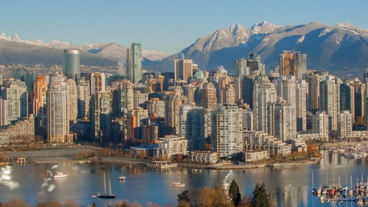 Image of the Vancouver city skyline from the air, overlooking the Downtown core.