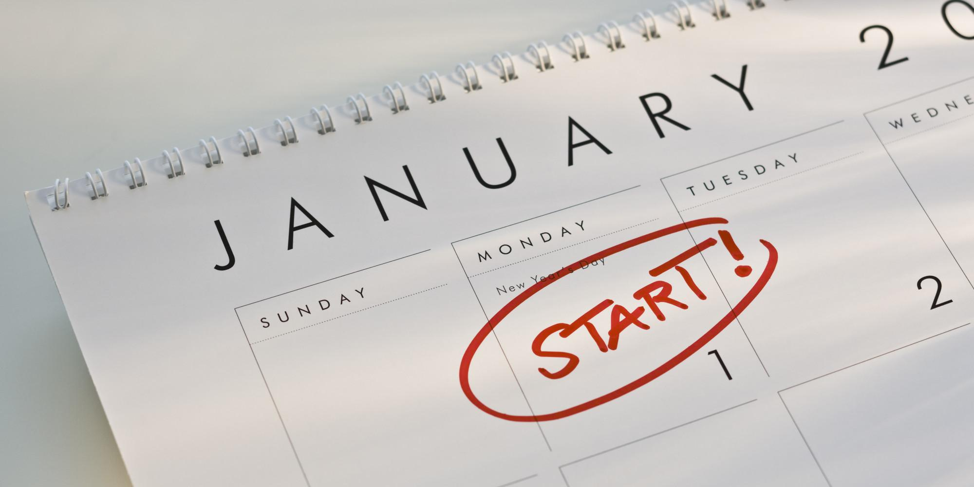 Image of a calendar page showing the month of January with the 1st circled with red pen and the word START above it