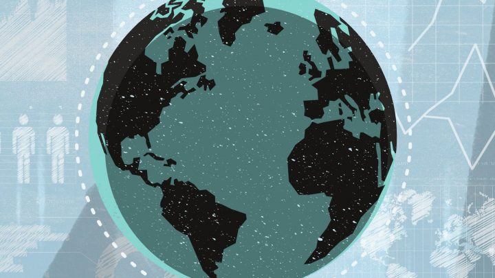 Stylized and cartoon style graphic of the Earth