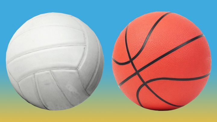 Image of a basketball and a volleyball, sitting beside each other.