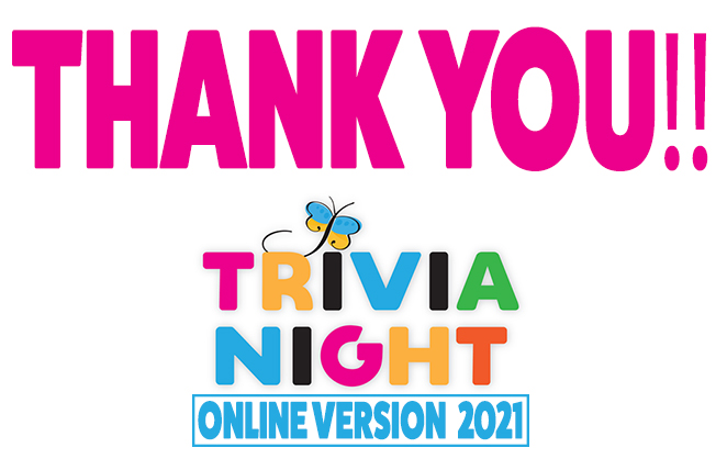 """Large block letters spell out the words """"Thank you"""" which floats over the logo for the Blind Beginnings Trivia Night Online Version logo."""
