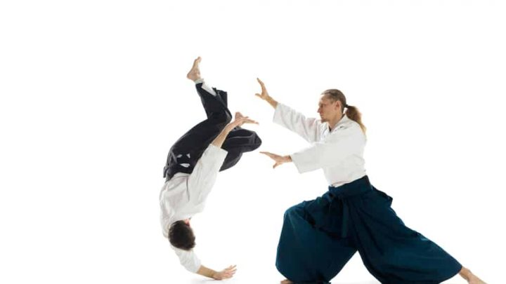Image of two men practicing Akido, one flying in mid-air as he flips over into a fall.