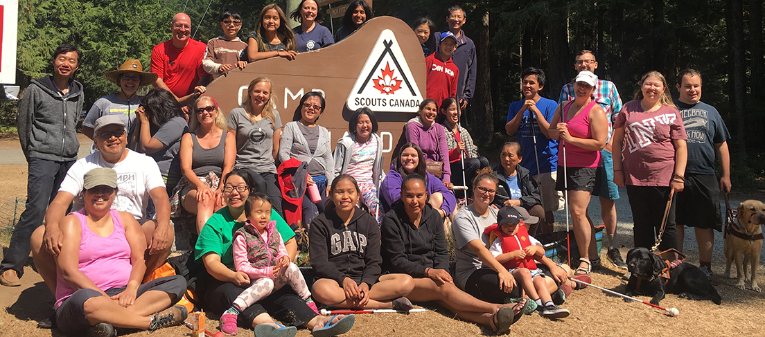 Image of a happy group of campers from one of our Summer Family Adventure Camps.