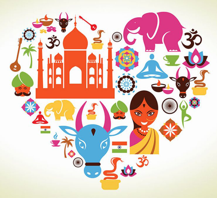 Image of a collection of graphics and icons that represent different aspects of East Indian culture, all formed together in the shape of a heart.