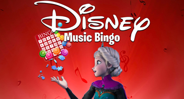 """Image of Ella, from Frozen, holding a bingo card and the words """"Disney Music Bingo"""" floating overtop of her. Musical notes and colorful card markers float in the air behind her."""