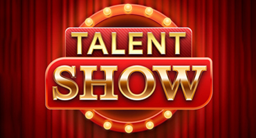 """A marquee which is circled by lights and has a red stage curtain behind it reads """"Talent Show""""."""