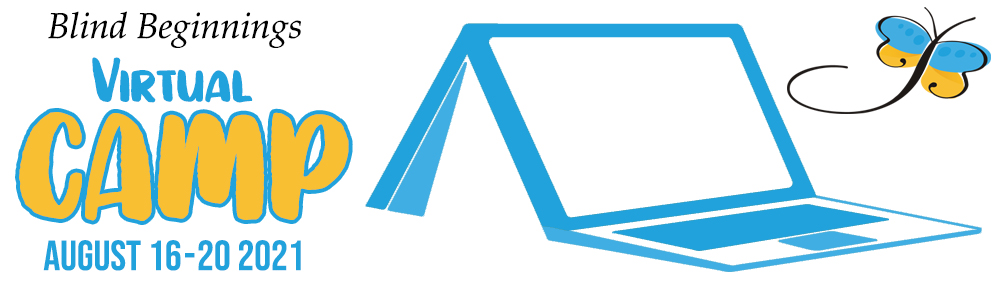"""Stylized graphic of a laptop and a tent combined. The words """"Virtual Camp August 16-20 2021"""" sits at the left of the graphic."""