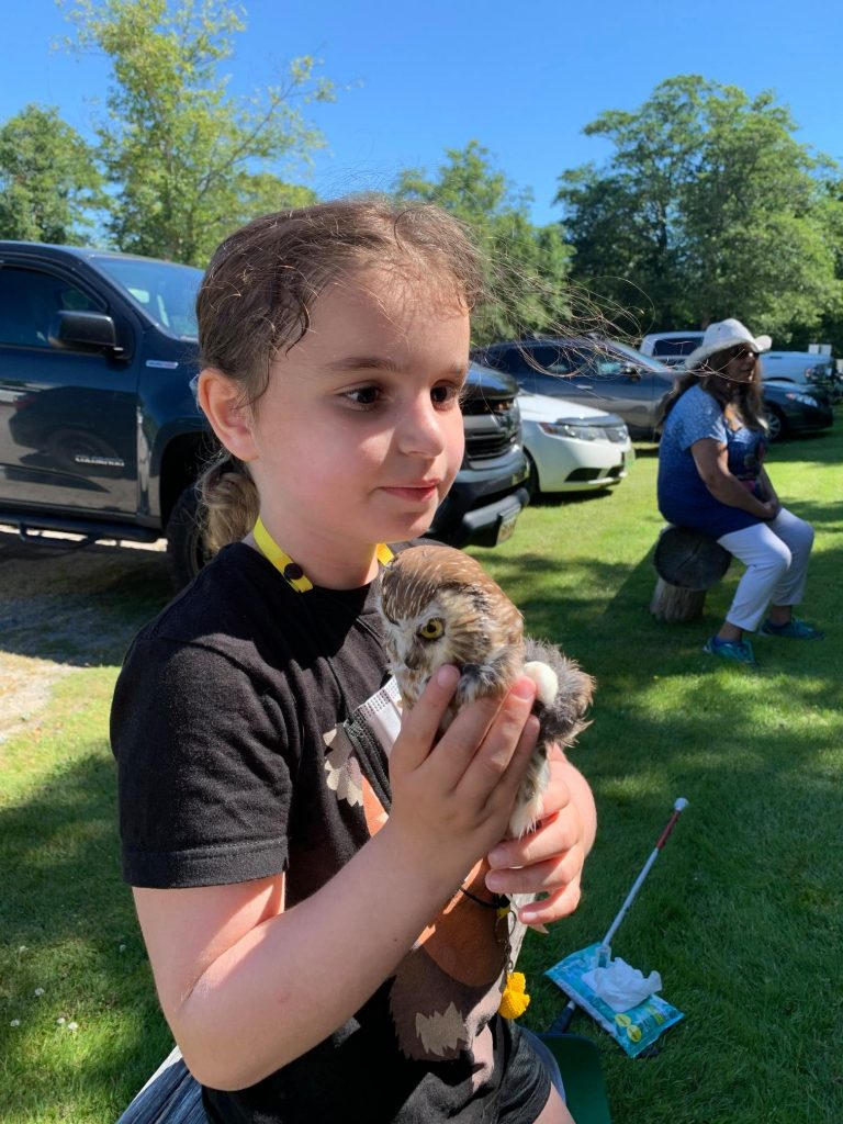 a young girl holds a baby owl and is showing the camera the face of the small owl. It is just larger than her hands.
