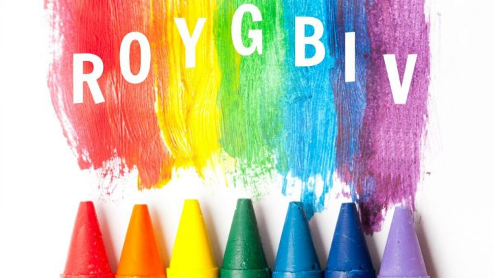 Image of a series of crayons - red, orange, yellow, green, blue, indigo, and violet, which make the up the acronym ROYGBIV.