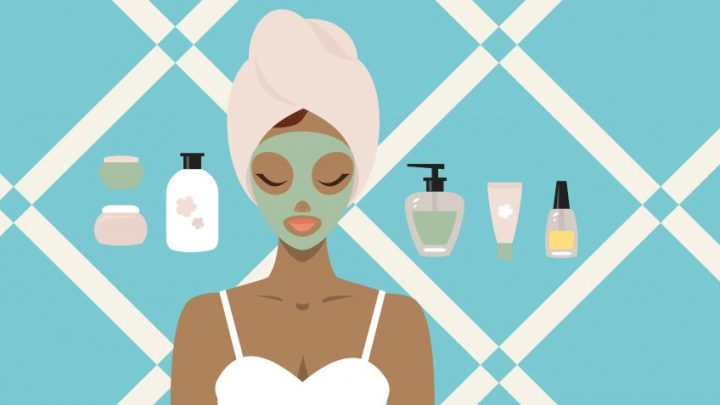 Cartoon image of a woman wearing a face mask with a towel wrapped around her head, looking relaxed as bottles of different skin care products surround her.