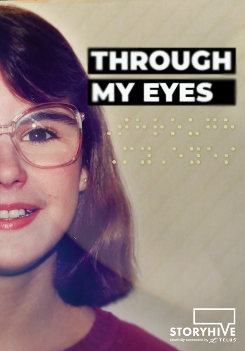 """Image of the movie poster for """"Through My Eyes"""" which features a picture of a teenage Shawn Marsolais wearing glasses and smiling."""